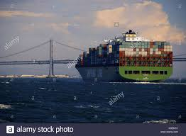 100 Shipping Containers San Francisco A Chinese Cargo Ship Is Stacked With Shipping Containers And Is