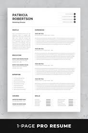 100 Resume Two Pages Professional 1 Page Template Modern One Page CV Word
