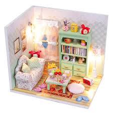 New Hoomeda DIY Mini Dream House Wood Dollhouse Miniature With LED