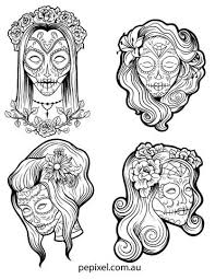 Female Sugar Skulls Day Of The Dead Halloween Coloring In Pages Sheets