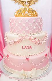 pink princess birthday cake with gold and crown