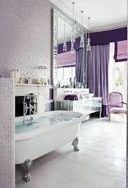 Majestic Purple Bathroom With Chic Design And Glamorous Vanity Large Wall Mirror Floral Pattern Wallpaper Clawfoot Bathtub Ideas