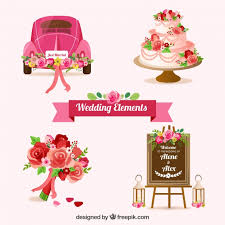 Set of wedding elements with beautiful flowers