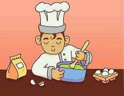baking a cake vector art illustration