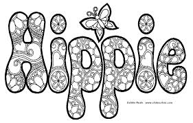 Hippie Coloring Pages Word