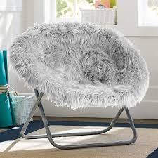 Gray Fur Rific Faux Hang A Round Chair