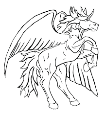 Coloring Pages Unicorn Good With Wings About Remodel Line Drawings