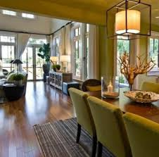 Warm Living Dining Room Combo With Wooden Flooring And Green Upholstered Chair Plus Lovely