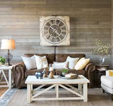 A Light And Airy Look With Brown Sofa Warm White Tables Mix Of Textures Gray Rustic Wood WallMix Living Room