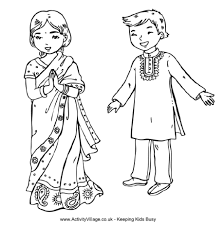 Indian Children Colouring Page