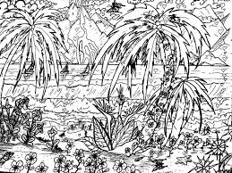 Landscape Coloring Pages Adults Tropical Beach