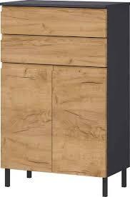 germania badkommode scantic breite 60 cm badezimmerschrank 2 türen 2 schubkästen türdämpfer grifflose optik mdf fronten