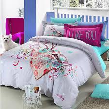 Grey Beautiful Pattern Cotton Teen Girl Bedding Sets OGTBD 1
