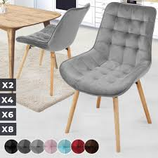 miadomodo esszimmerstühle hellgrau 2er set sitzfläche aus samt gepolstert gesteppt beine aus buchenholz mit rückenlehne polsterstuhl