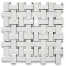Thassos White 1x2 Basketweave Mosaic Tile Ming Green Dots Polished