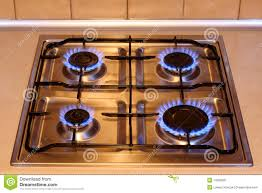 Kitchen Gas Stove With Flames Of Fire