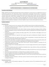 Warehouse Resume Example Human Resources Supervisor Sample General Objective Examples