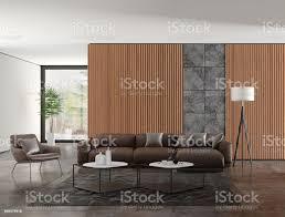 modernen minimalistischen wohnzimmer interieur mit holz wandpaneele stockfoto und mehr bilder bilderrahmen