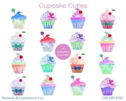 CUTE WATERCOLOR CUPCAKE Clipart mercial Use Clip Art Watercolour Cupcakes Birthday Party Clipart Fun Desserts Planner Sticker Graphics