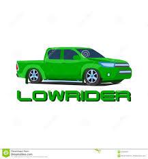 100 Low Rider Truck Gree Pickup Rider Car Vector Illustration