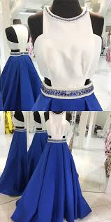 2017 long prom dress royal blue prom dress with white top beads