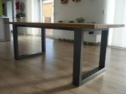 table de salle a manger chêne massif piétement acier menuiserie