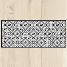 tapis cuisine carreaux black