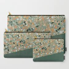 Terrazzo Texture Military Green 4 Carry All Pouch By Printablespassions