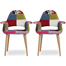 A 2xhome Set Patchwork Two 2 Multi Color Upholstered Organic Arm ...