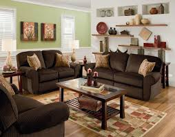 Living Room Decorating Brown Sofa by Red Leather Love Seat Combined With Round Glass Top Coffee Table