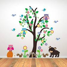 Very Best Wall Art Stickers Childrens Rooms Tree Black Dog Animal Contemporary Blue Birds Green Simple