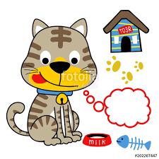 Cats Breakfast Time Vector Cartoon Illustration