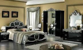 barock schlafzimmer komplett schwarz silber hochglanz