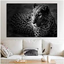 schwarz und weiß moderne tier leopard malerei wandkunst