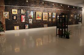 Display Picture Lighting Focus On Framed Wall Rustic Accent Brick Also White Art Gallery