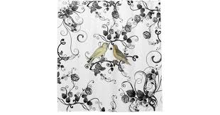 Black And White Flower Shower Curtain by Vintage Yellow Birds Black White Roses Flowers Shower Curtain