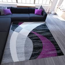 paket kurzflor teppich schwarz grau türkis lila rot streifen muster r9423