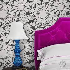 große blumen wand schablone für diy moderne blumen kunst wandgestaltung auf schlafzimmer akzent wand malerei