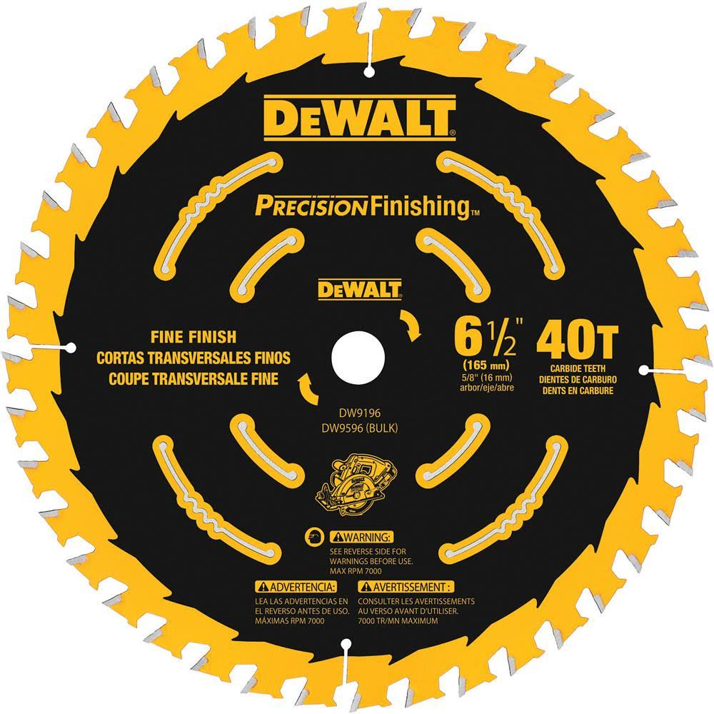 "Dewalt Circular Saw Blades - 6-1/2"", 40T Precision Framing"