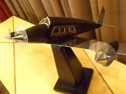 Airplane Lamp Art Deco by French Wooden Art Deco Model Airplane