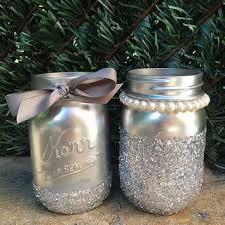 Glitter Mason Jars Silver Painted Wedding Decor