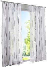 bailey jo 1er pack gardinen mit wellen druck design vorhang transparent voile vorhänge bxh 140x175cm grau mit kräuselband