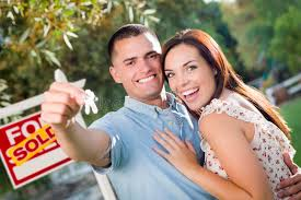 Download Military Couple With House Keys And Sold Real Esta Stock Image