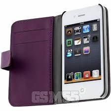housse portefeuille violet série lenny pour apple iphone 4 et 4s