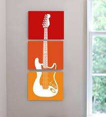 Rock N Roll Theme Guitar Nursery Kids Teen Music Lover Room Canvas Wall Art