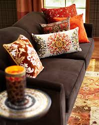 exotic pillows in maize colors make an a maize ing fall sofa