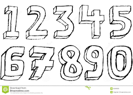 Grunge 3D Numbers In Black And White Stock Illustration Image