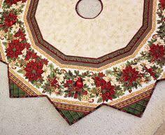 Holiday Flourish Christmas Tree Skirt Quilt Cardinals And Poinsettias Soft Gold Burgundy Green 62 Inch Diameter