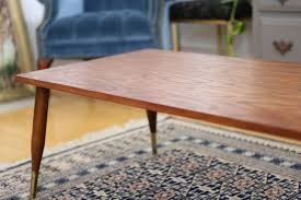 100 Mid Century Modern Canada Vintage Coffee Table With Brass Legs From No100