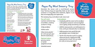 peppa pig sensory play mud tray made